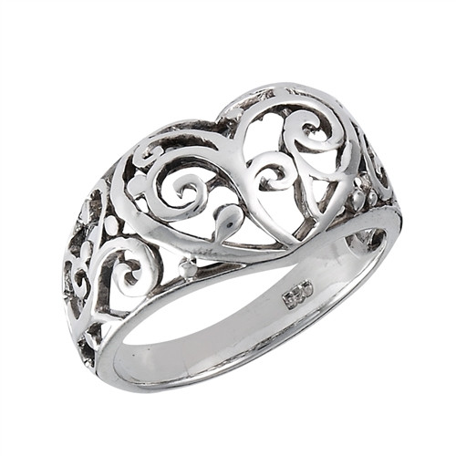 Sterling Filigree Heart Ring 3196