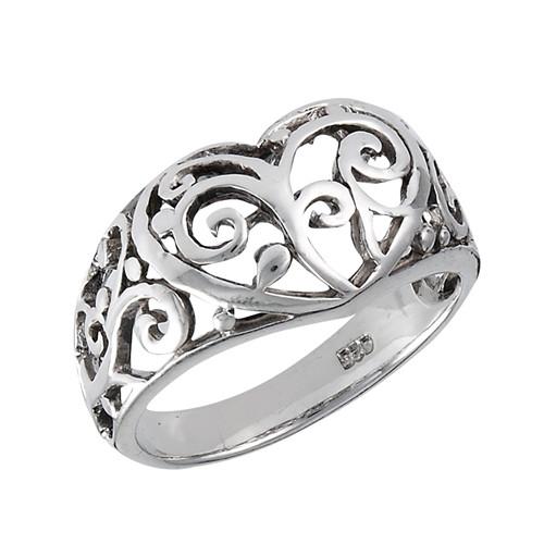 Sterling Filigree Heart Ring 3196