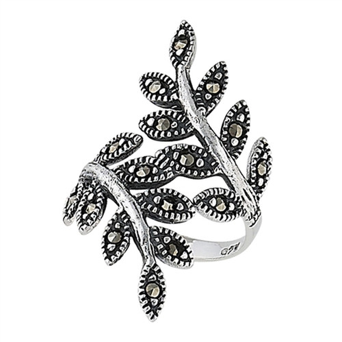 Sterling Leaf Ring w/Marcasite 3726