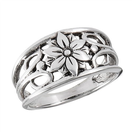 Sterling Flower w/Swirls Ring 2272