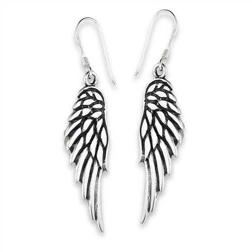 Sterling Silver Large Angel Wings Dangle Earrings 9652