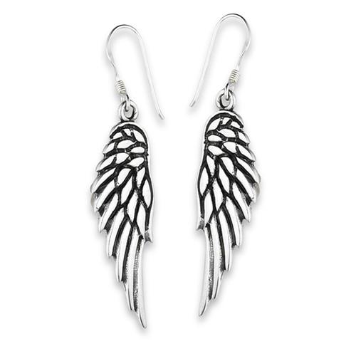 Sterling Silver Large Angel Wings Dangle Earrings 9652