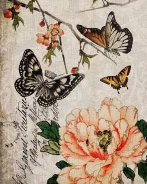 Butterfly Floral Decoupage Paper