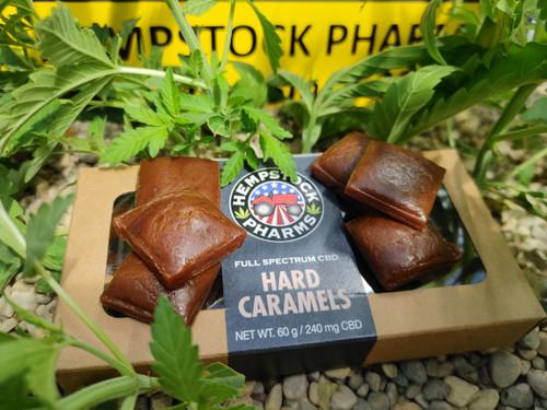 Caramels in a box in the hemp greenhouse.