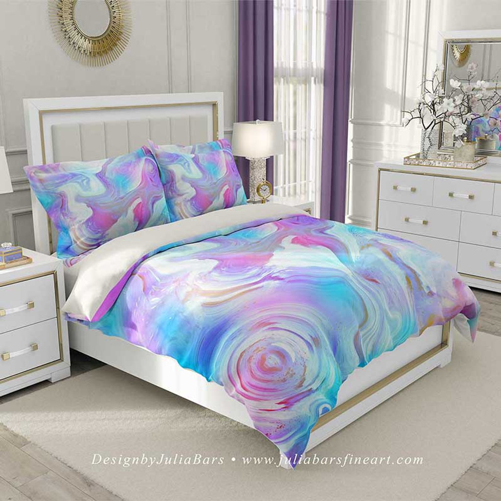 abstract duvet cover in blue, purple and pink by Julia Bars