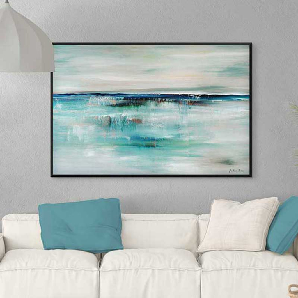 large abstract seascape art print, ocean painting in blue and gray