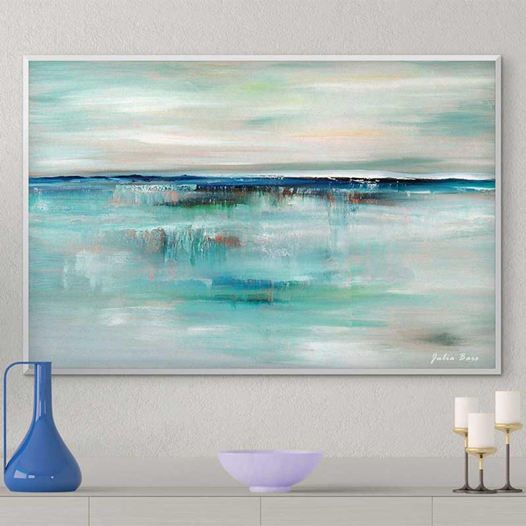 abstract coastal wall art, blue and white seascape by Julia Bars