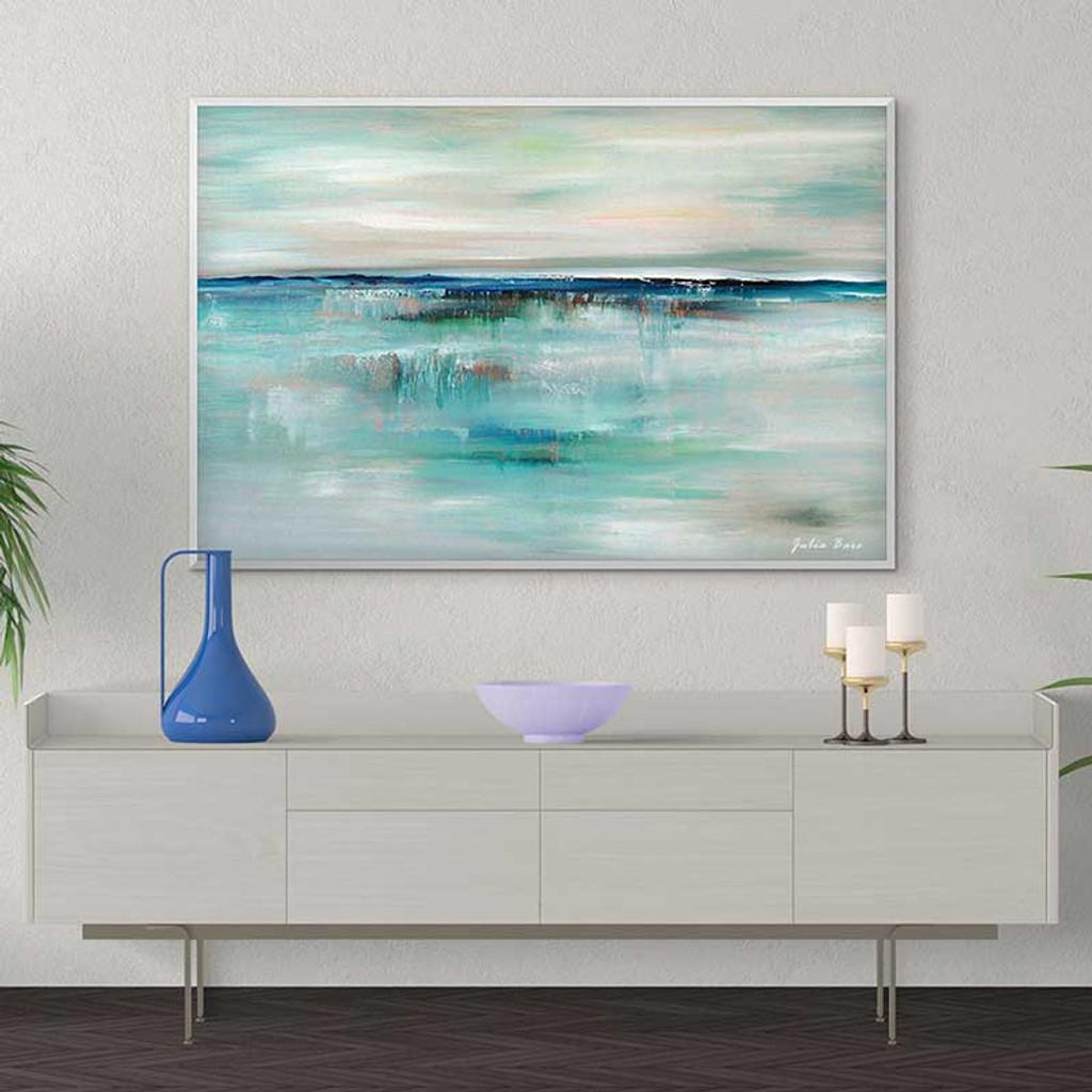 Abstract Seascape Print,  Coastal Art, Blue Turquoise Gray