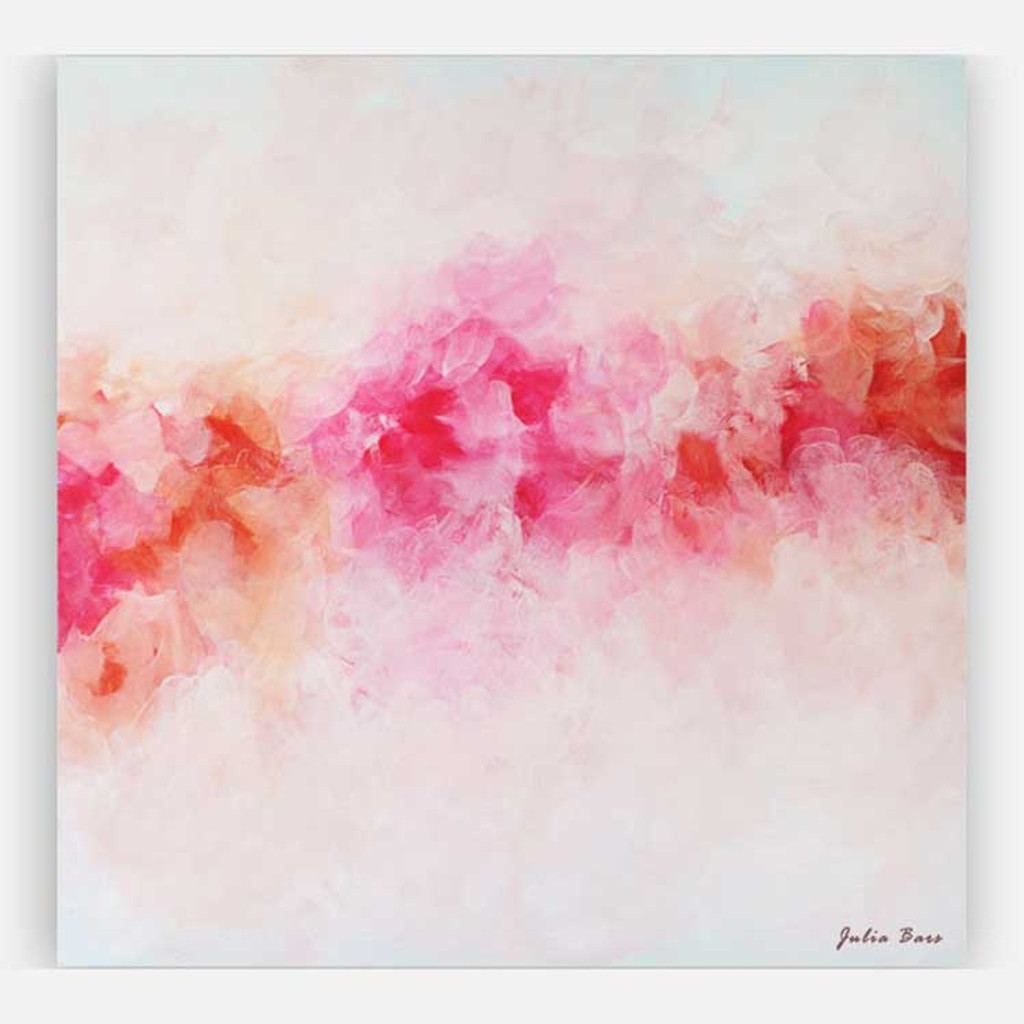 pink peony painting, abstract floral art print