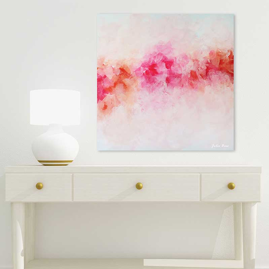 large floral art print, pink peony painting by Julia Bars