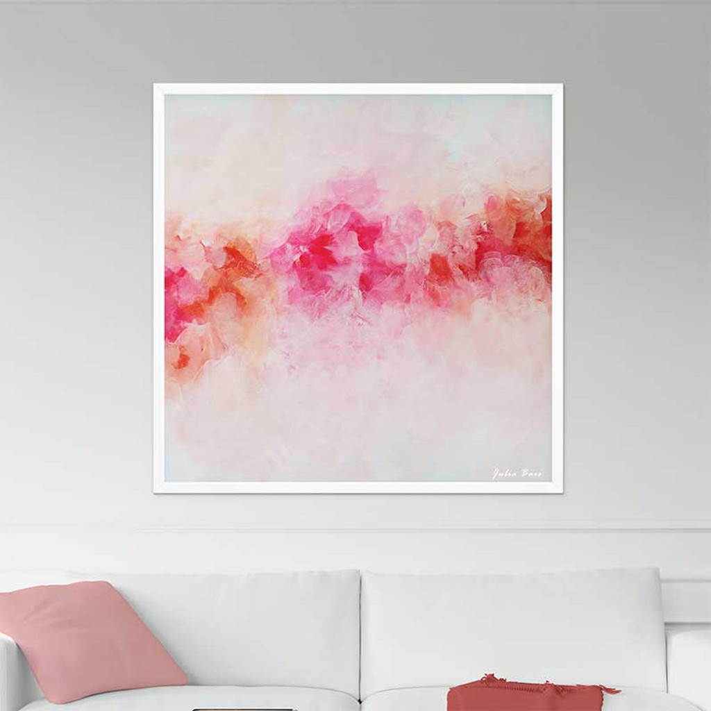 large floral wall art, peony art print on canvas, pink and white