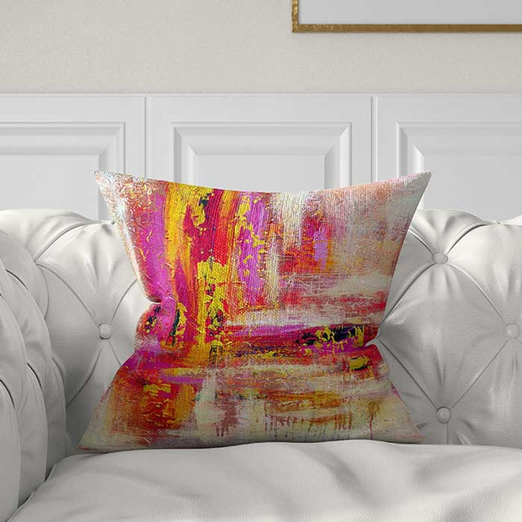 Purple Red And Gold Abstract Throw Pillow Cover
