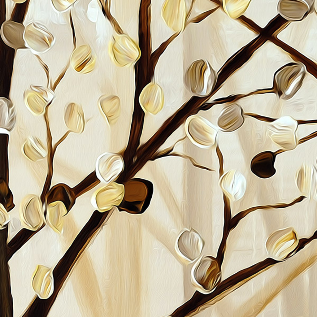 brown and beige shower curtain close up image