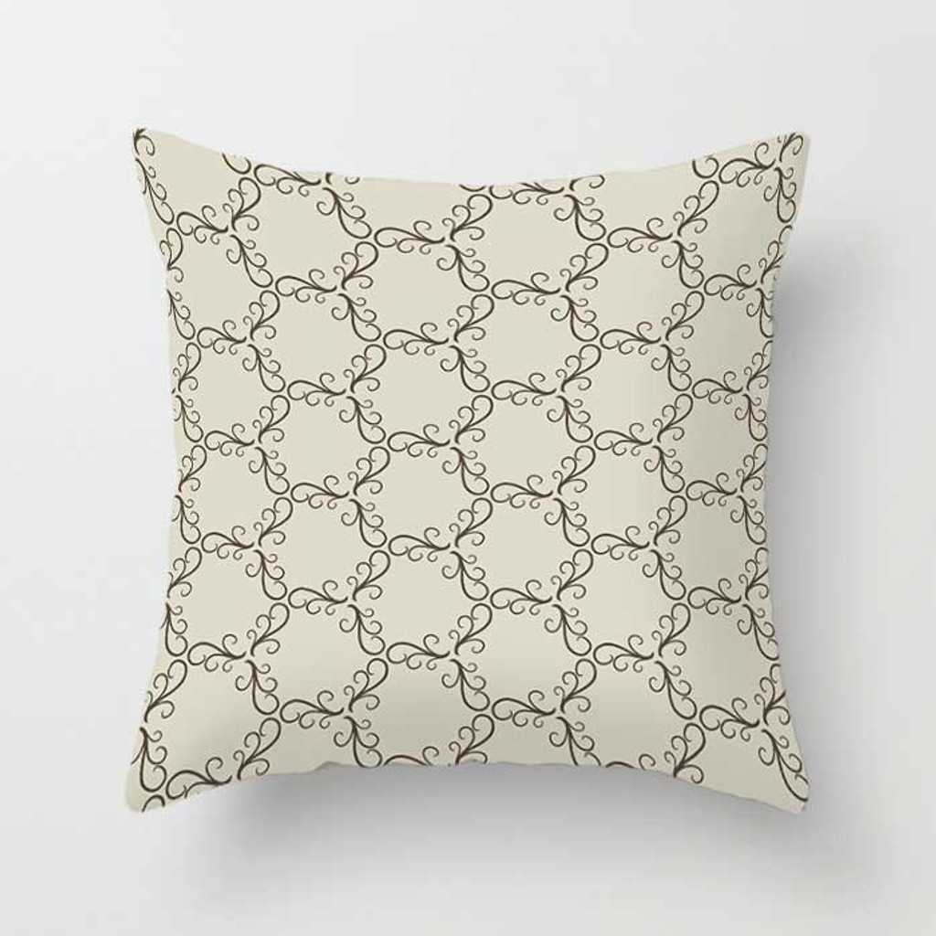 beige decorative pillow with trellis pattern