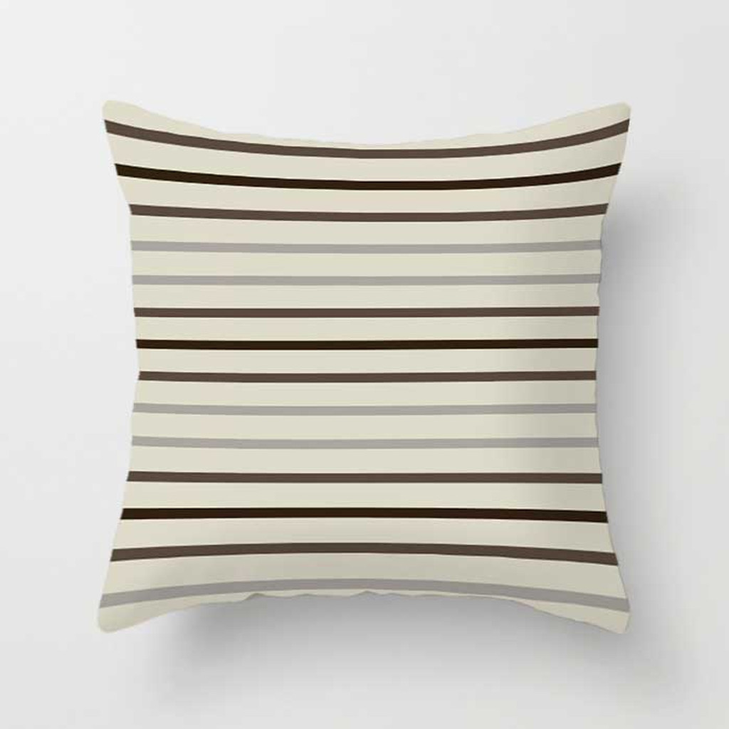 striped throw pillow in brown, beige and gray