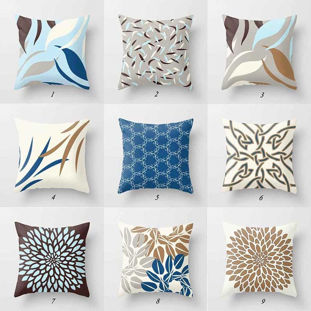 blue, brown and gray throw pillows with original design by Julia Bars