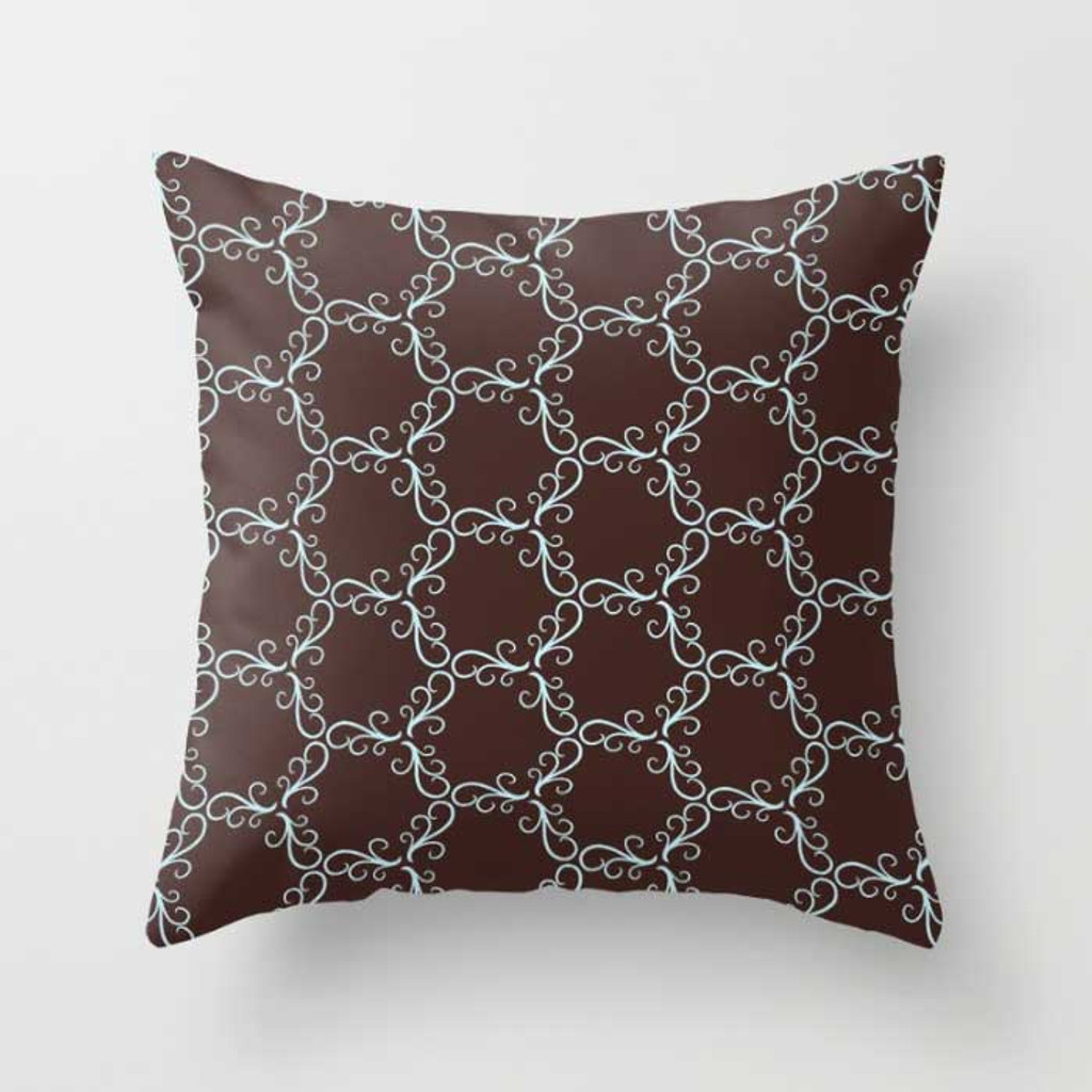 brown throw pillow with blue trellis pattern