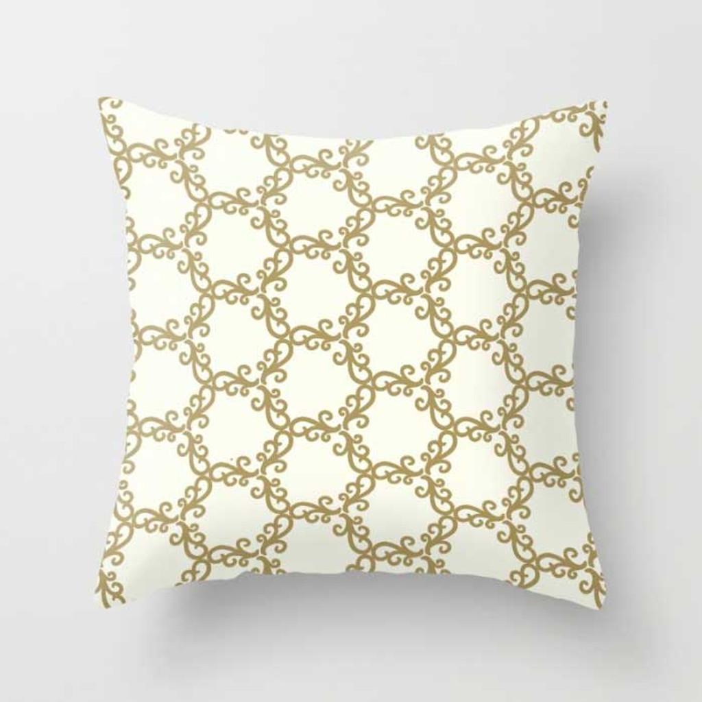 white and yellow trellis throw pillow
