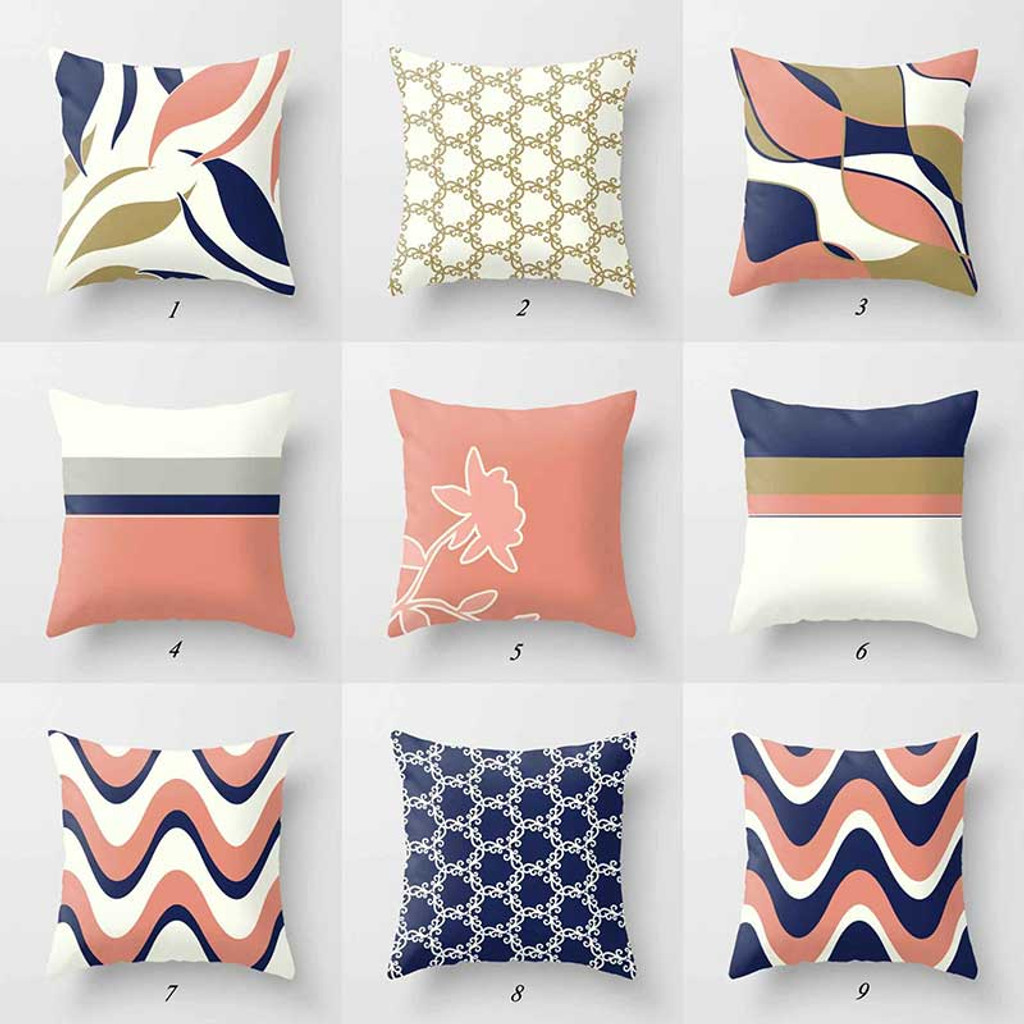 navy blue and pink throw pillow covers with geometric design