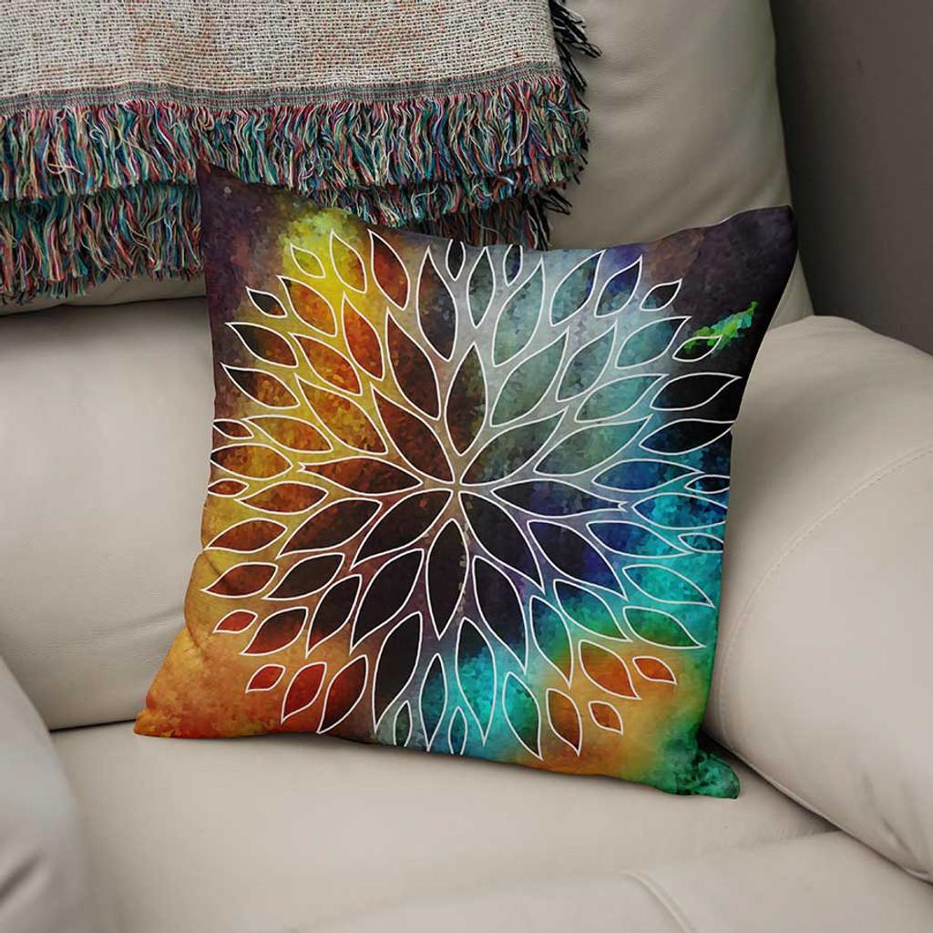 decorative cushion, orange, blue, purple throw pillow