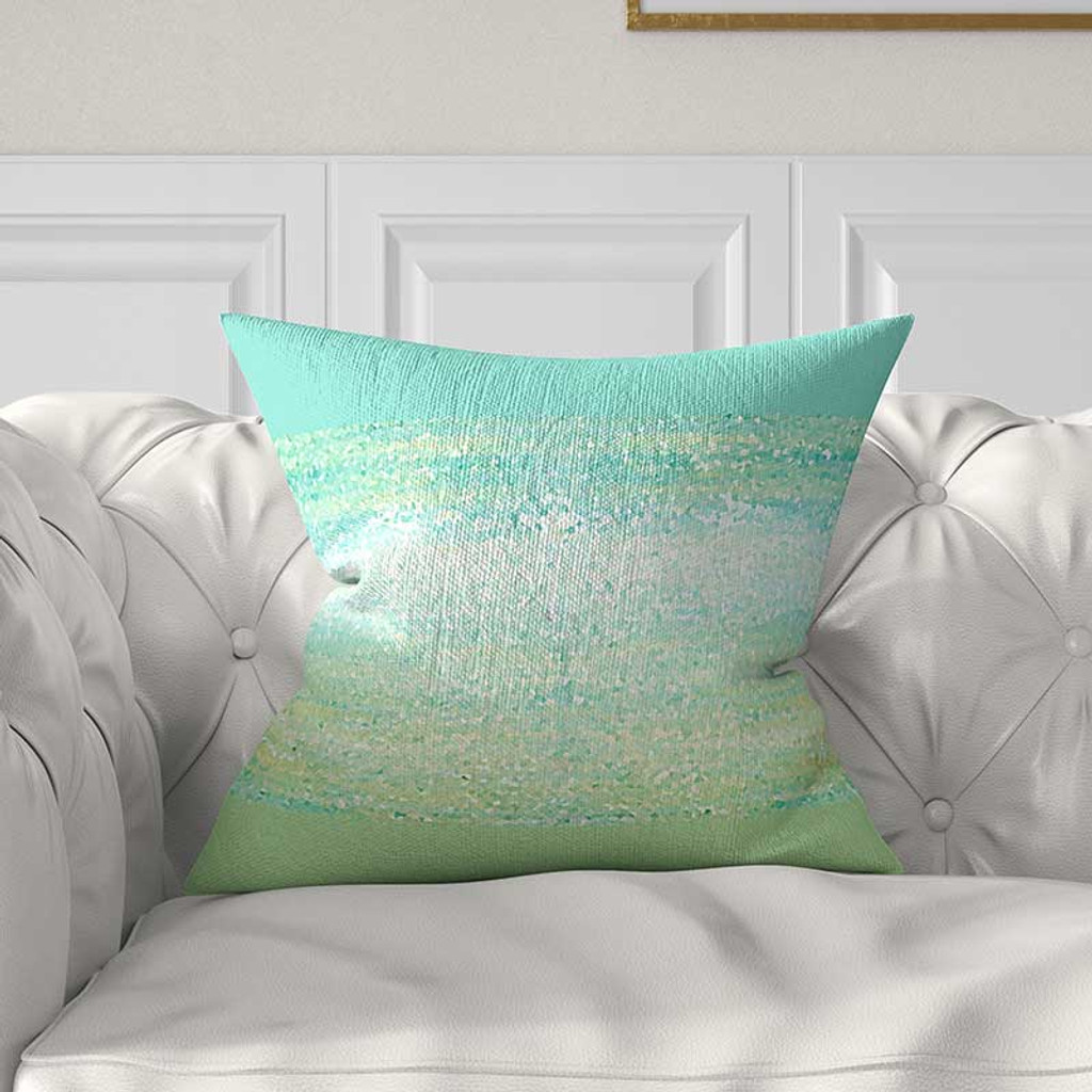 Abstract Throw Pillow Cover For Couch Mint Green And Aqua Blue