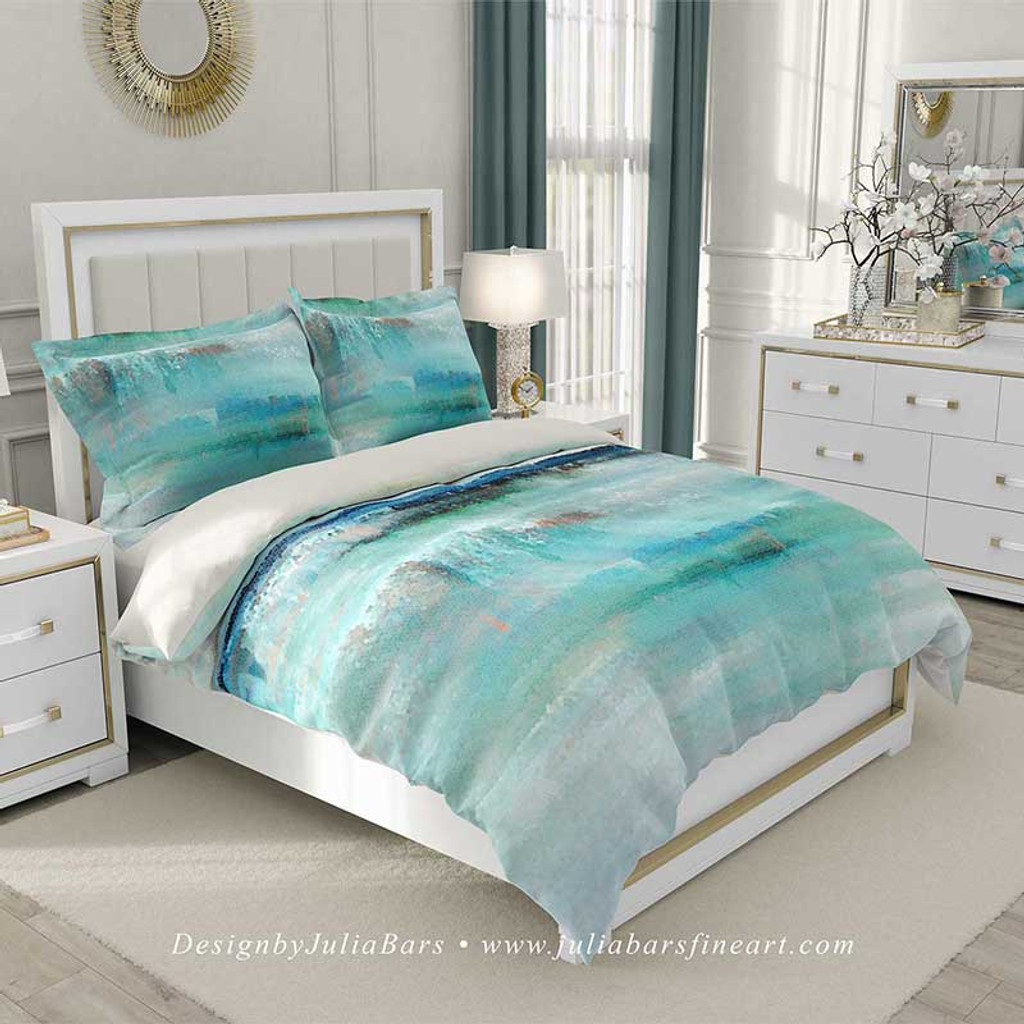 abstract coastal duvet cover in blue, teal and white