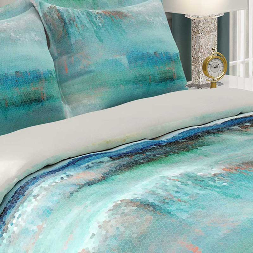 close up image of abstract ocean duvet cover