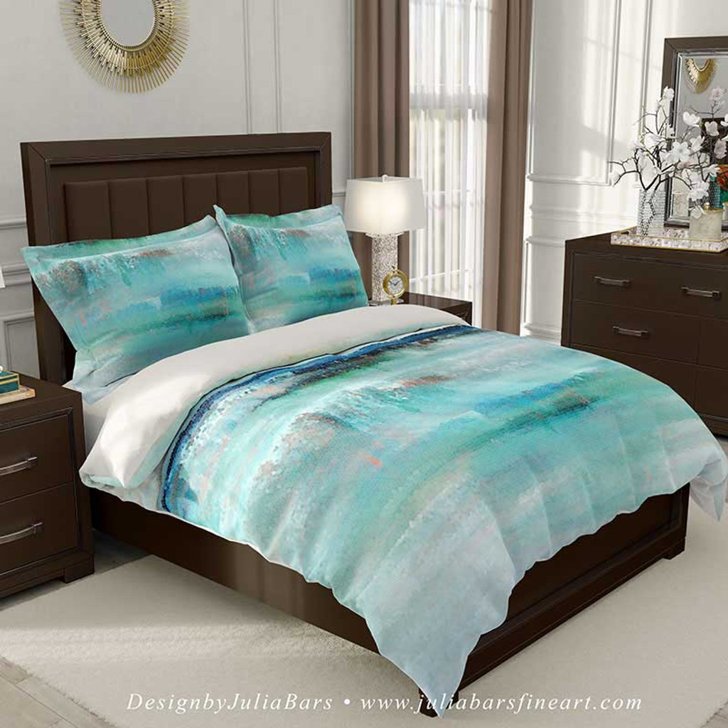 duvet cover with abstract nautical design in teal and white