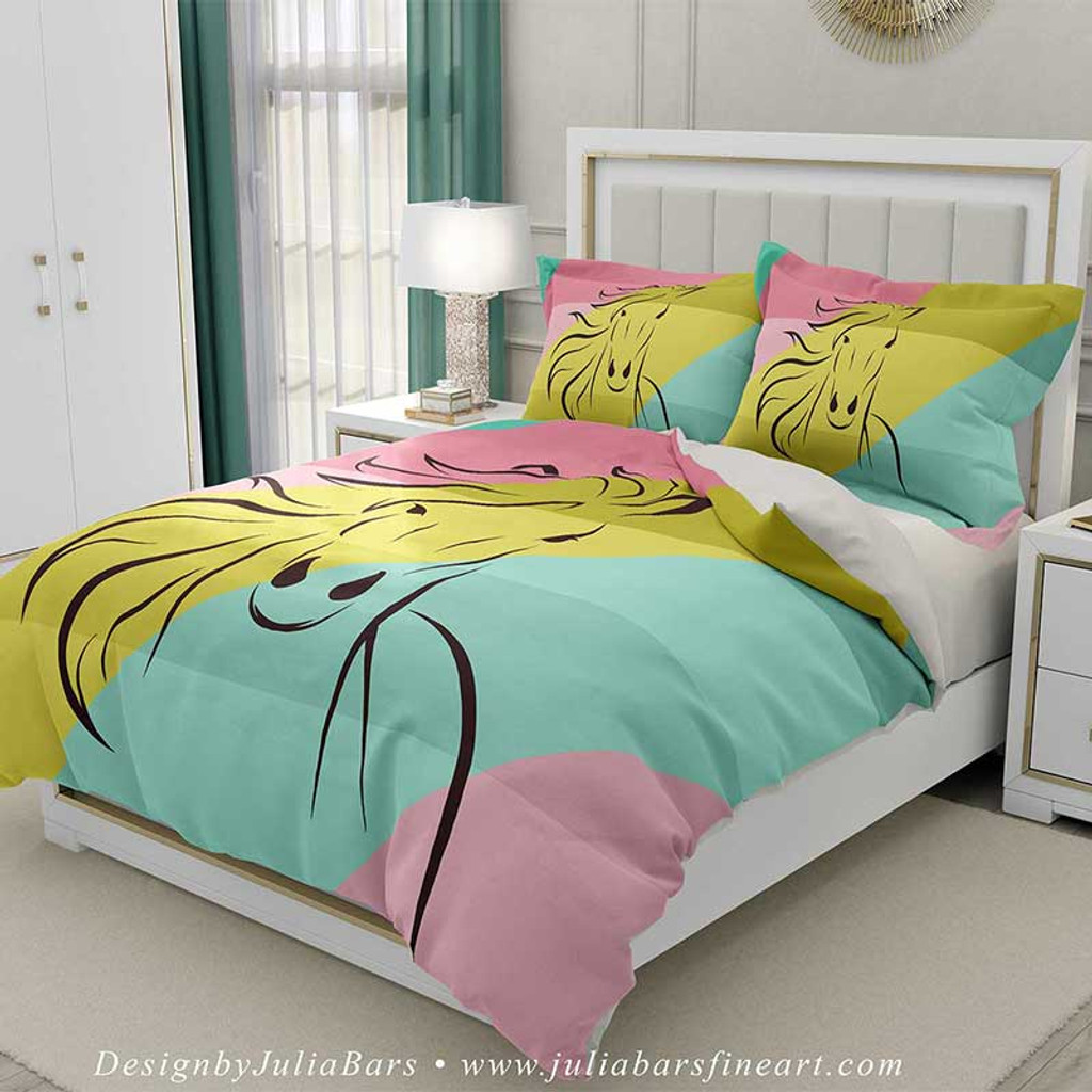 horse duvet cover in mint green, pink and yellow