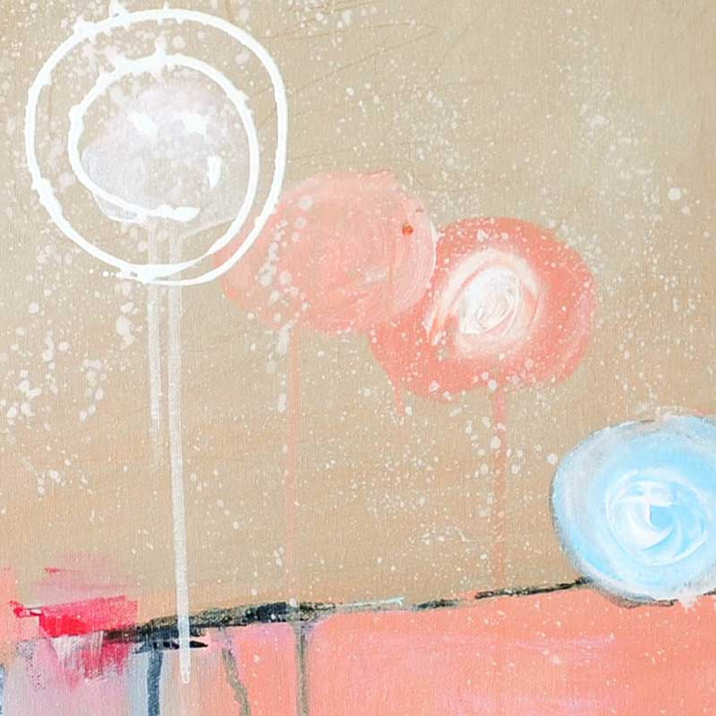fragment of the original abstract painting in pink and blue