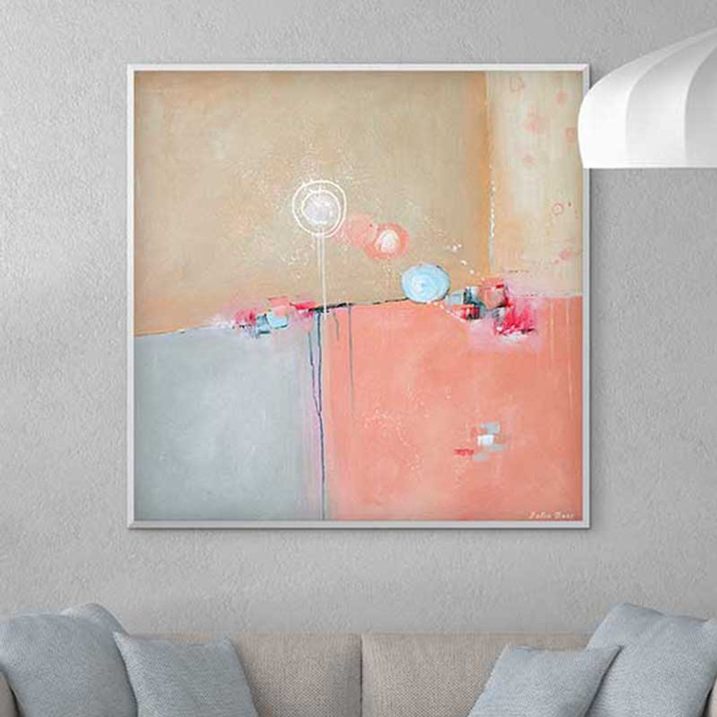 Large abstract pink and blue painting on the wall