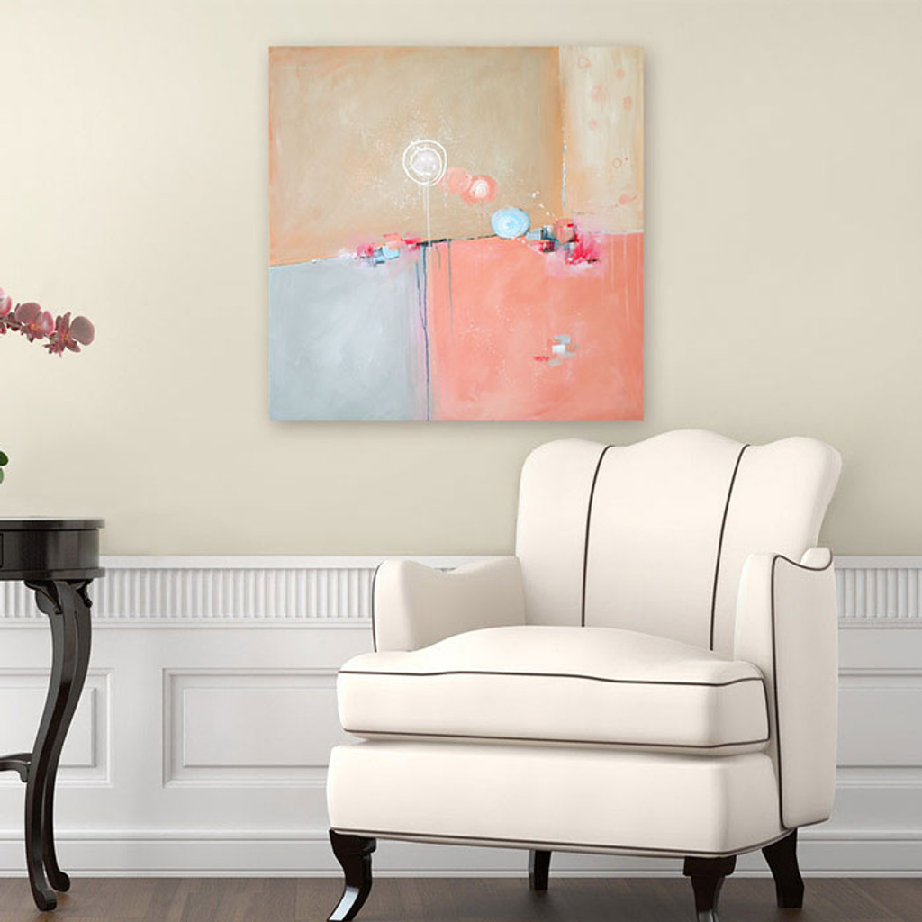pink and blue whimsical abstract painting by Julia Bars
