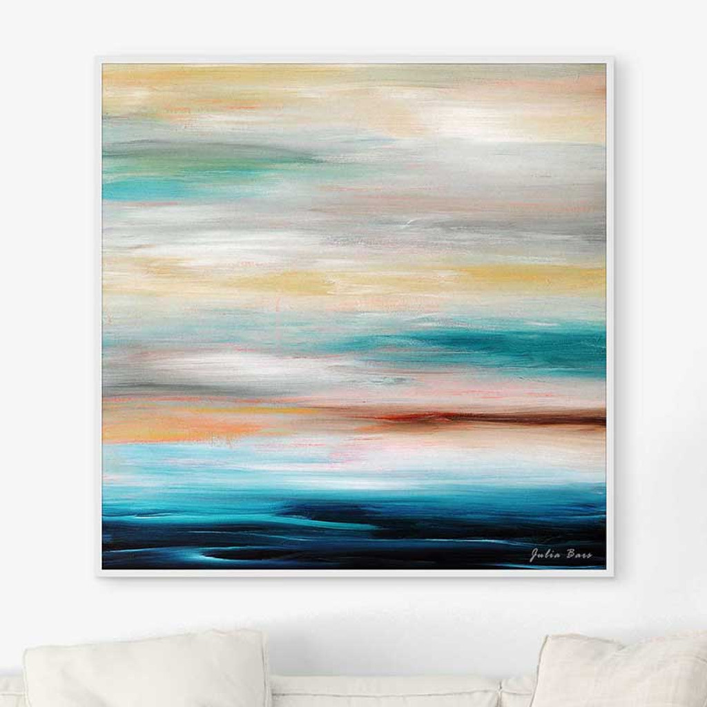 large abstract seascape art print, ocean art in blue and gray