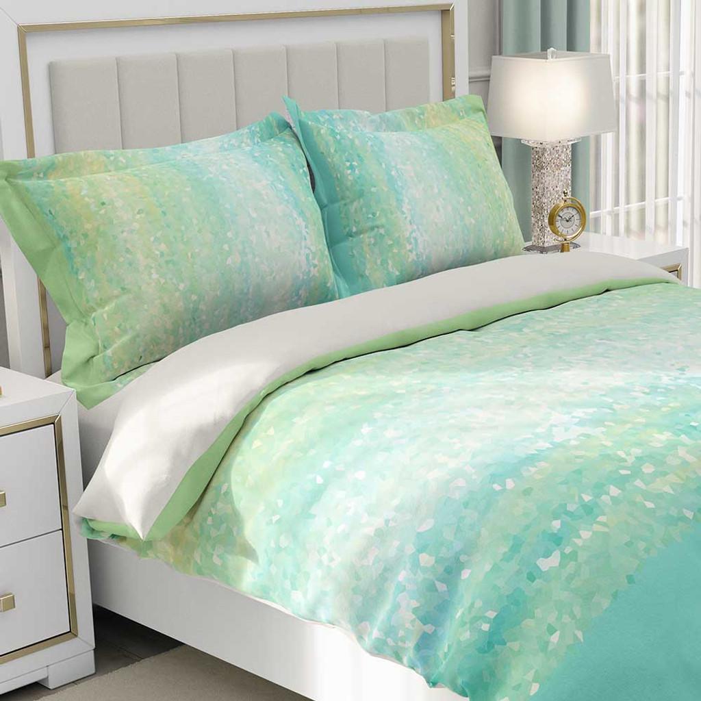 Mint Green And Aqua Blue Bedding Duvet Cover Pillow Shams