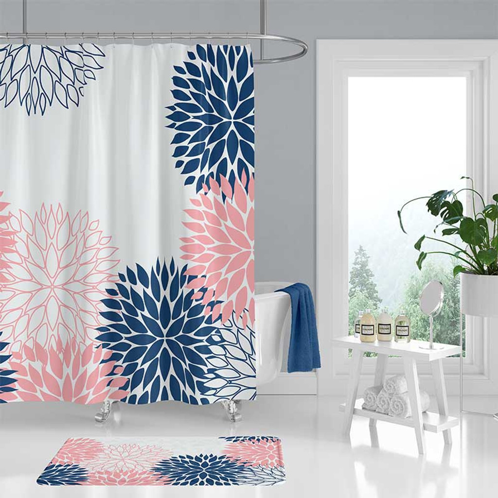 Navy Blue And Pink Shower Curtain And Bath Mat With Floral