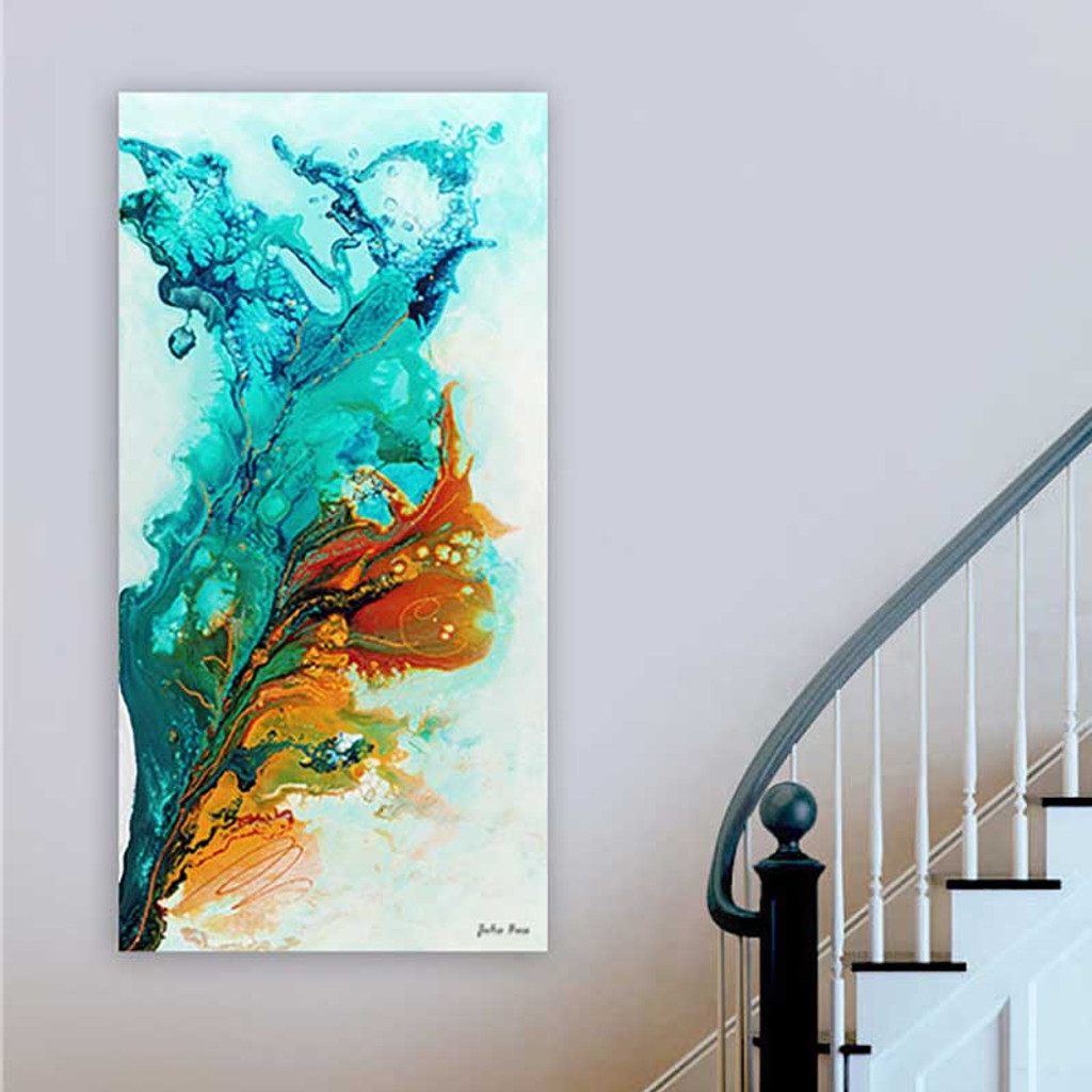 Abstract wall art, giclee print in blue, orange and turquoise by Julia Bars