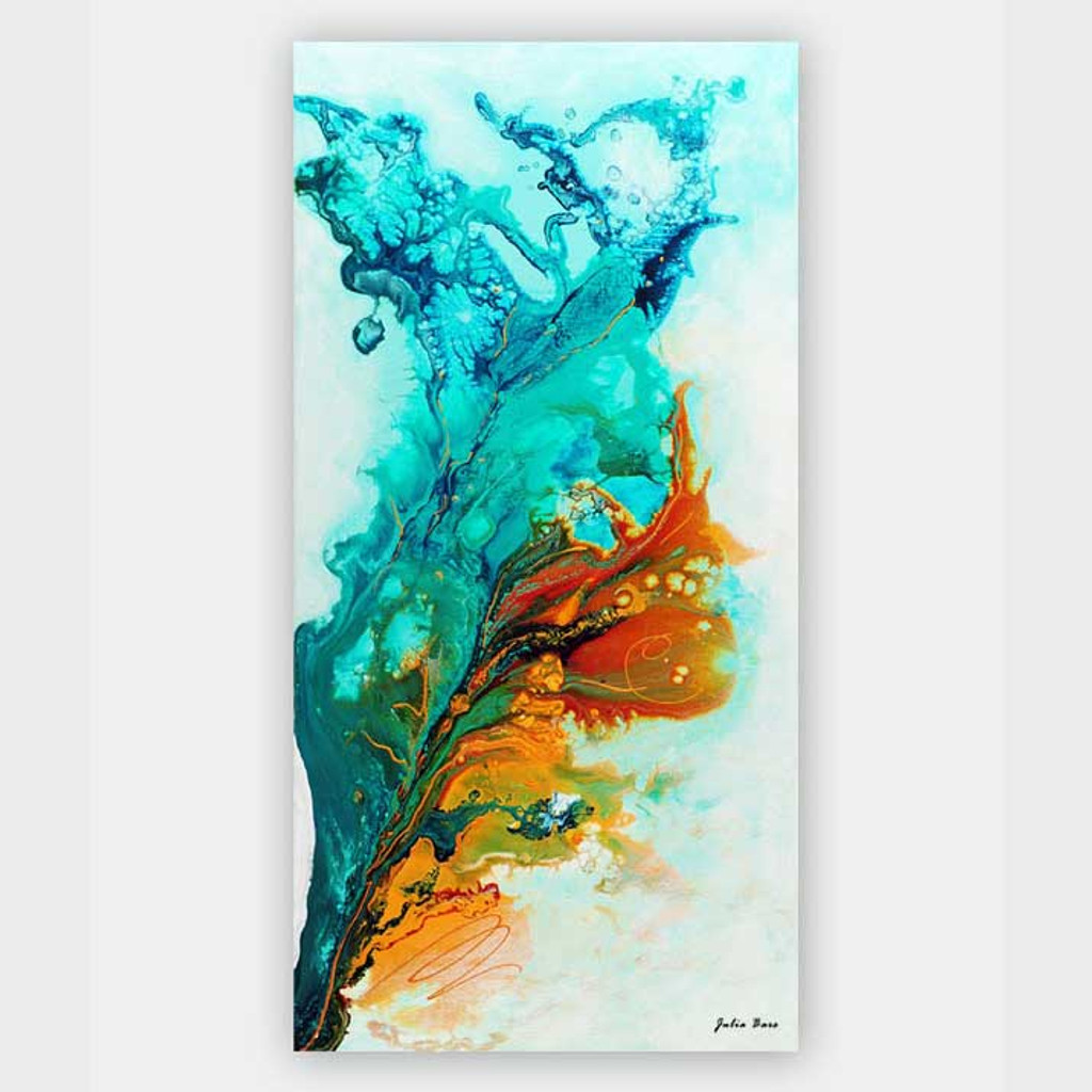 abstract fluid painting, turquoise and orange