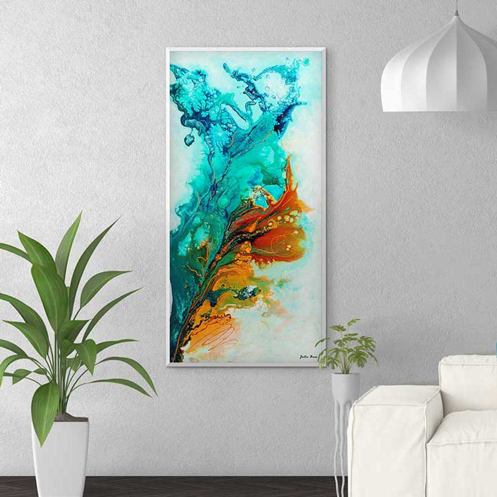 large colorful abstract painting in turquoise, blue and orange