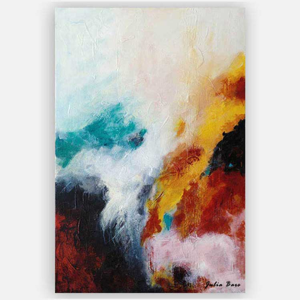 red blue and white giclee art print on canvas