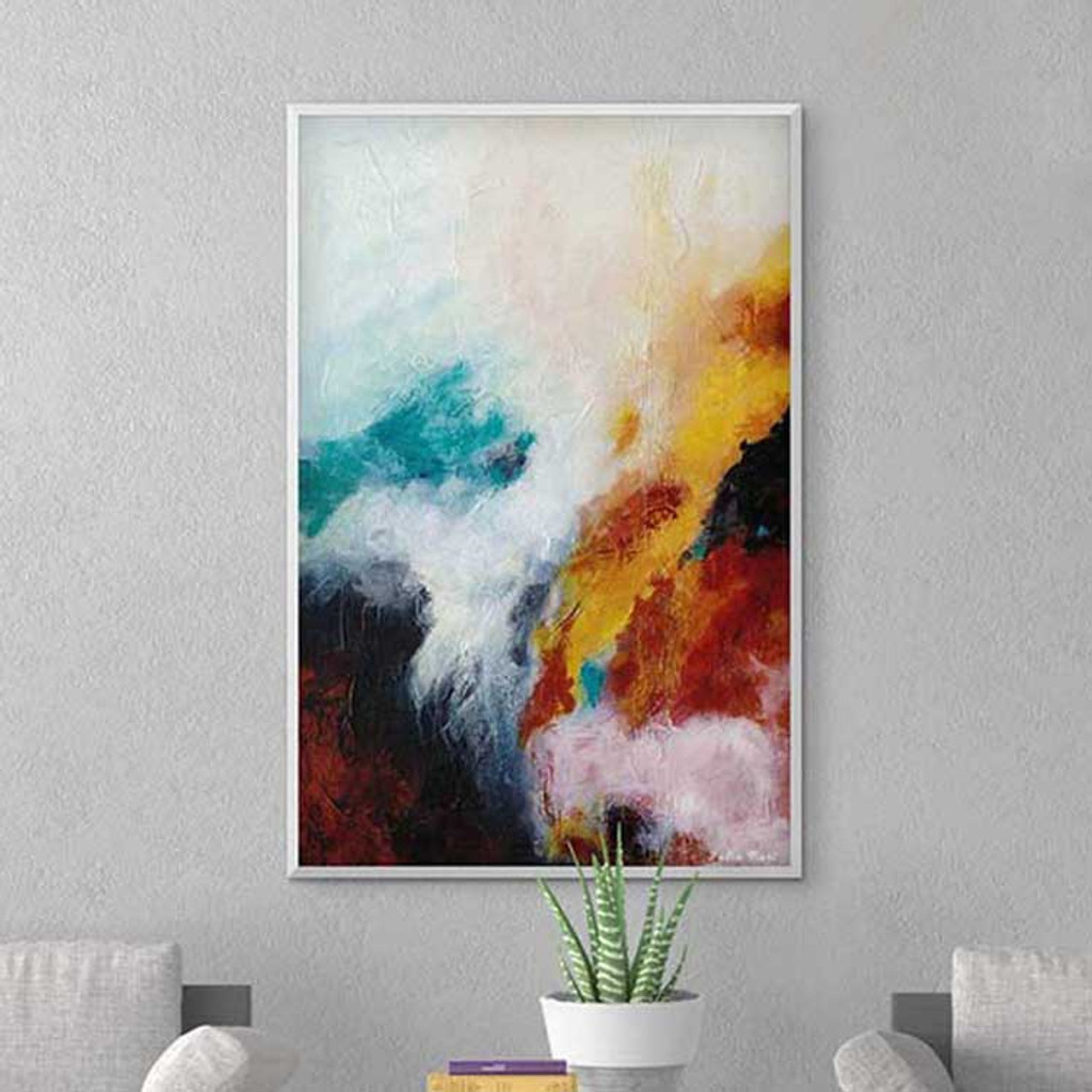 abstract art print, giclee print on canvas in black, blue and red