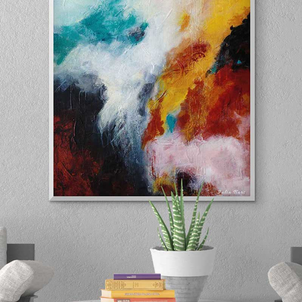 large abstract wall art, blue, red and orange canvas art print