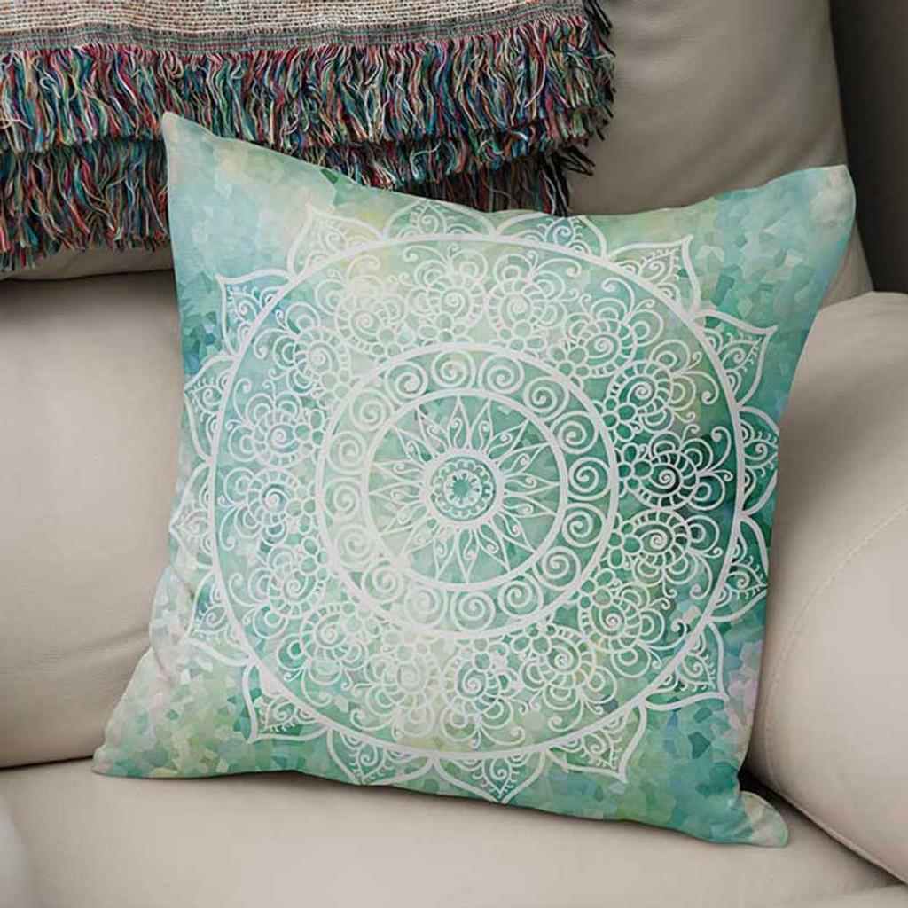 aqua blue mint green throw pillow cover mandala pillow case