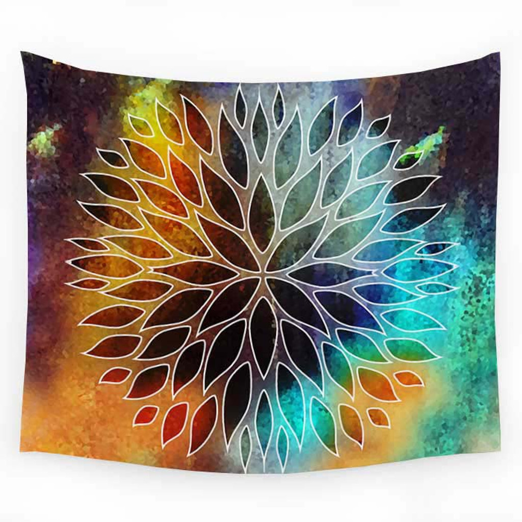 "Purple and Orange Wall Tapestry ""Chrysanthemum"""