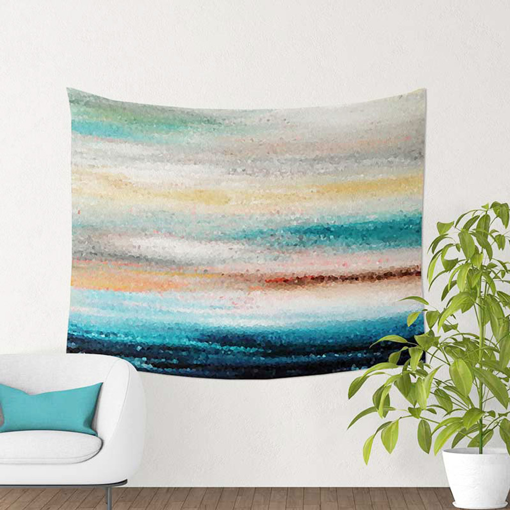 abstract wall hanging tapestry, blue, teal