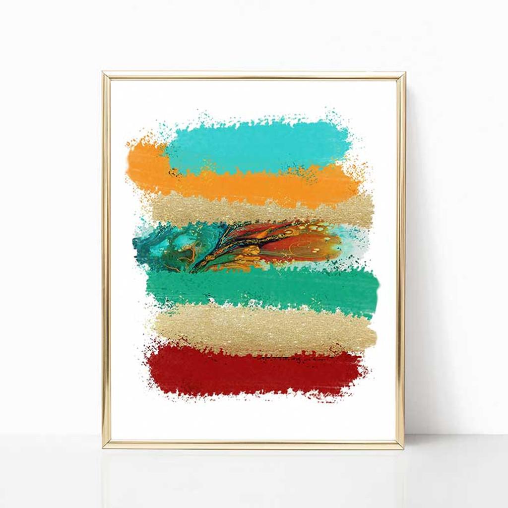 large art print, teal, orange, red