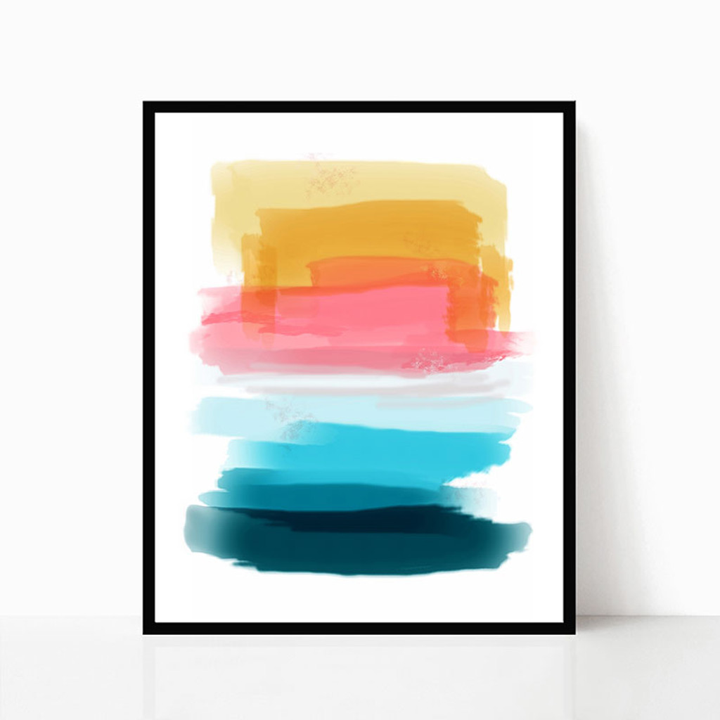 Printable watercolor art in yellow, pink, blue and teal.