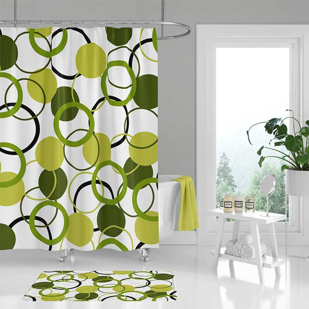 Green And White Shower Curtain Bath Mat Click Here To Enlarge