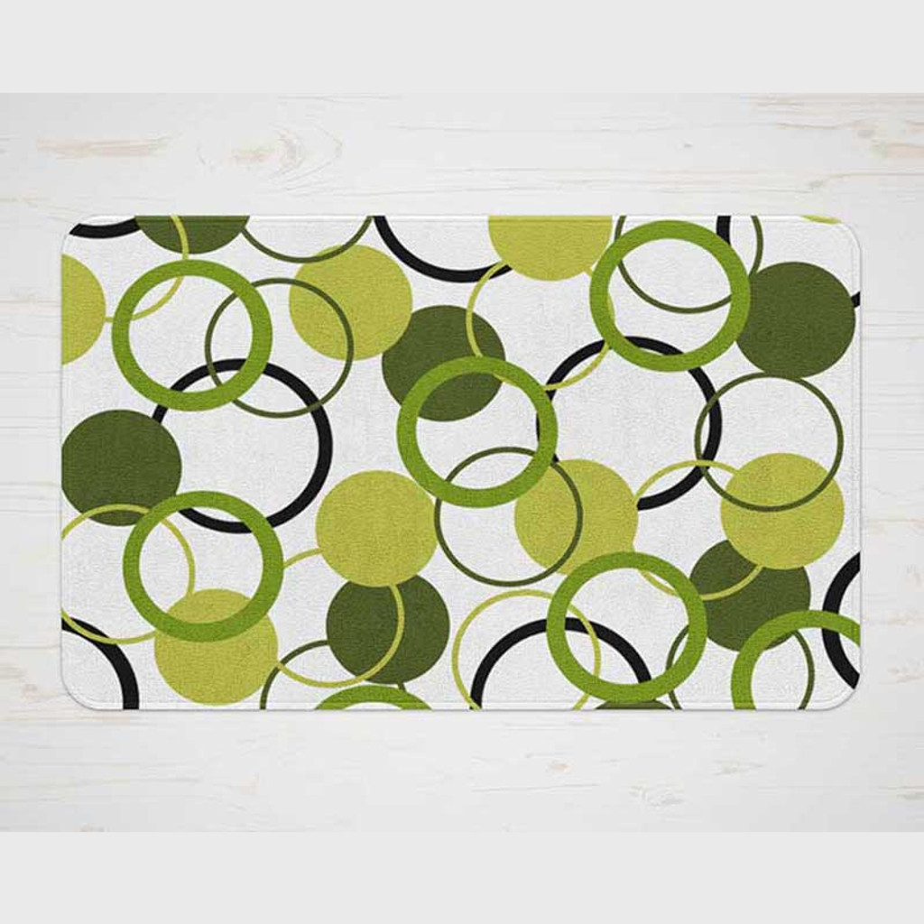 bathroom mat in green and white