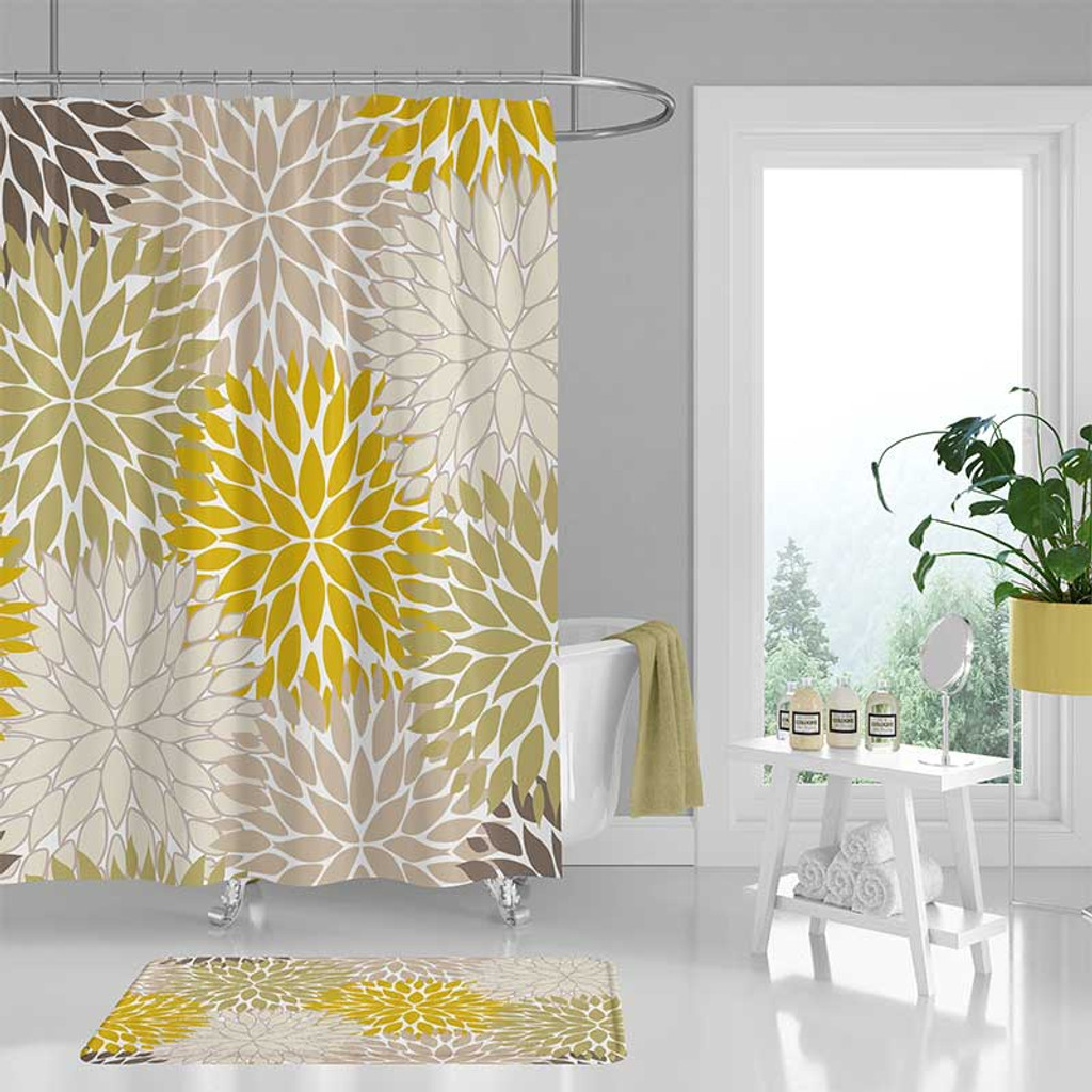 floral shower curtain and bath mat in yellow, olive green and beige