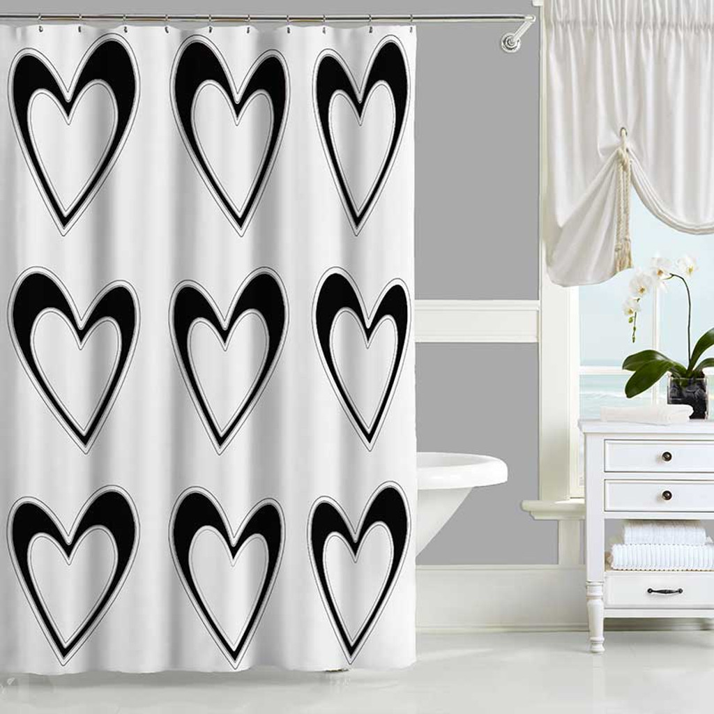 Black And White Shower Curtain And Bath Mat With Hearts Design